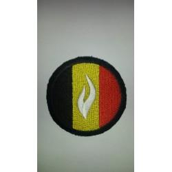 Ecusson rond avec drapeau et logo police blanc