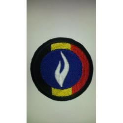 Ecusson rond avec drapeau et logo police bleu et blanc