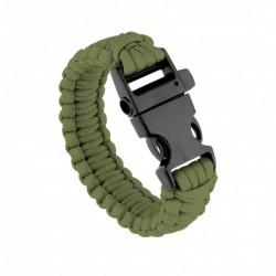 Bracelet de survie tressé en paracorde vert OD