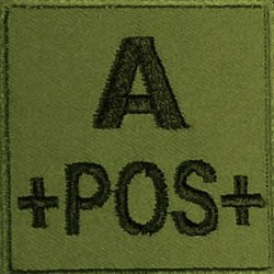 Groupe sanguin A positif brodé sur tissu vert OD