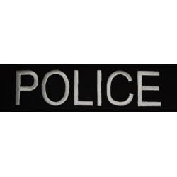 Ecusson dos Police brodé fond noir écriture blanche